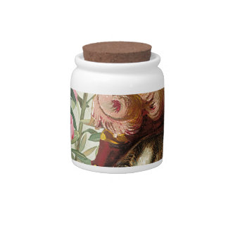 Dressed Floral Victorian Cat Pink Flowers Hat Candy Jar