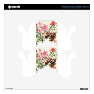 Dressed Floral Victorian Cat Pink Flowers Hat PS3 Controller Skins