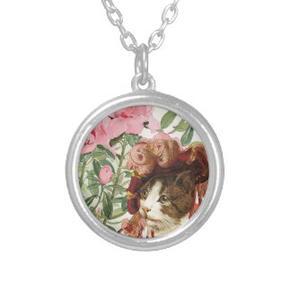 Dressed Floral Victorian Cat Pink Flowers Hat Round Pendant Necklace