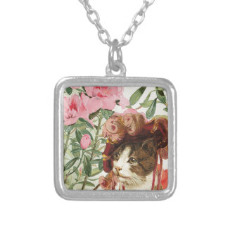 Dressed Floral Victorian Cat Pink Flowers Hat Square Pendant Necklace