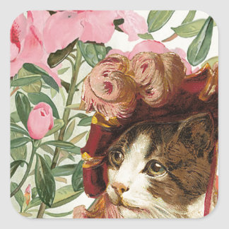 Dressed Floral Victorian Cat Pink Flowers Hat Square Sticker