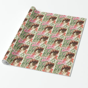 Dressed Floral Victorian Cat Pink Flowers Hat Wrapping Paper