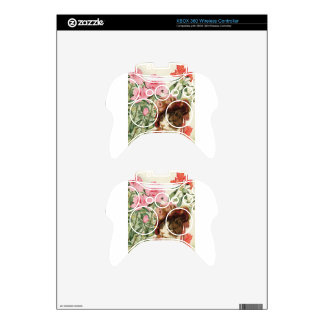 Dressed Floral Victorian Cat Pink Flowers Hat Xbox 360 Controller Skin