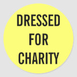 Dressed For Charity Yellow Round Sticker