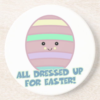 dressed for easter egg drink coasters