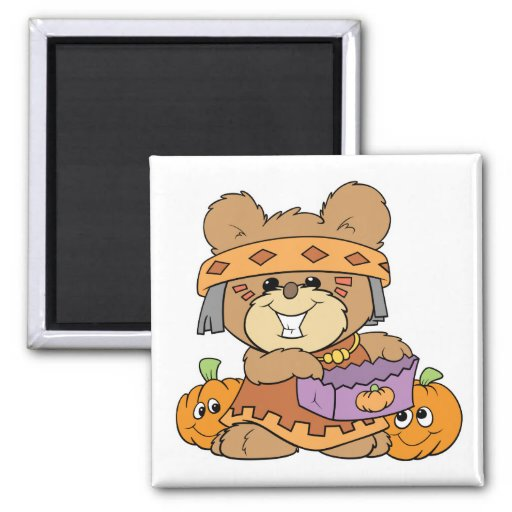 dressed for halloween indian costume teddy bear de refrigerator magnet