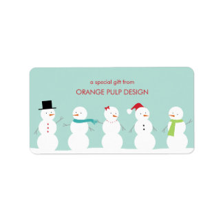 Dressed Snowman Holiday Gift Tag/Favor Stickers Label