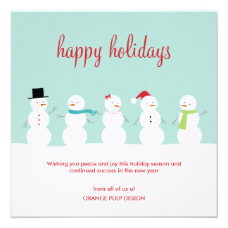 Dressed Snowmen Business Holiday Cards