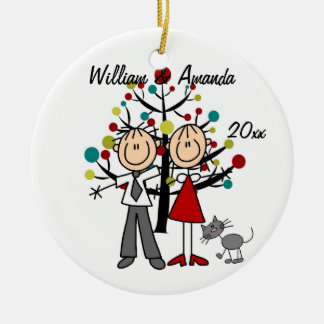 Dressed Up Couple and Cat Personalized Ornament