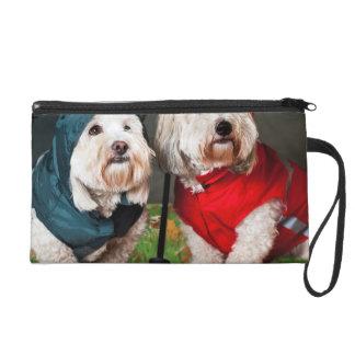 Dressed up dogs under umbrella wristlet clutch