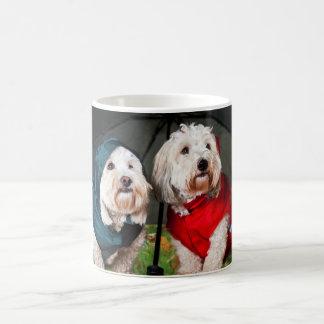 Dressed up dogs under umbrella coffee mug