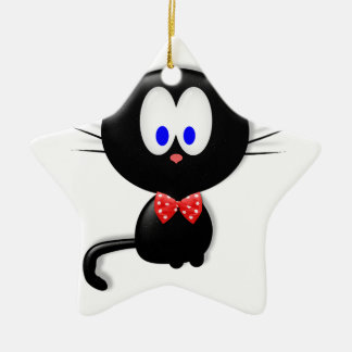 Dressed up kitty ceramic ornament