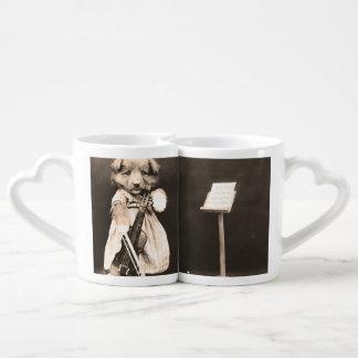 Dressed Up Puppy with Violin Coffee Mug Set