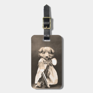 Dressed Up Puppy with Violin Tag For Bags