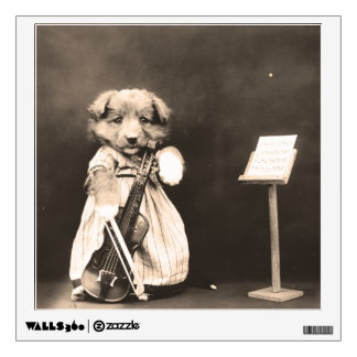 Dressed Up Puppy with Violin Wall Sticker