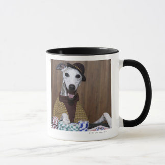 Dressed up Whippet dog at gambling table Mug