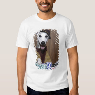 Dressed up Whippet dog at gambling table T Shirts