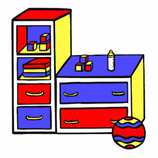 dresser primary colored photo cut outs