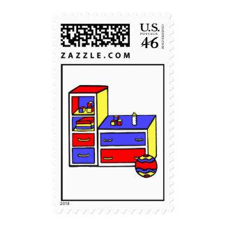 dresser primary colored stamp