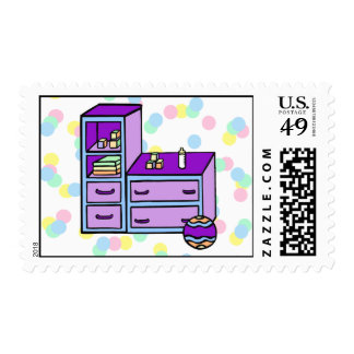 dresser purple blue postage stamps