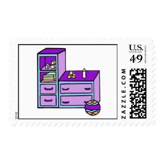 dresser purple blue stamp