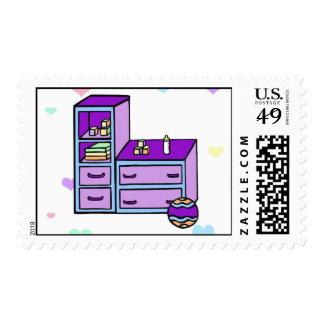 dresser purple blue stamps