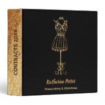Dressmaker Seamstress Gold Glitter Mannequin 3 Ring Binder