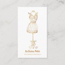 Dressmaker Seamstress Gold Glitter Mannequin Busin Business Card
