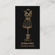 Dressmaker Seamstress Gold Glitter Mannequin Business Card