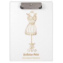 Dressmaker Seamstress Gold Glitter Mannequin Clipb Clipboard
