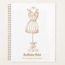 Dressmaker Seamstress Gold Glitter Mannequin Plann Planner