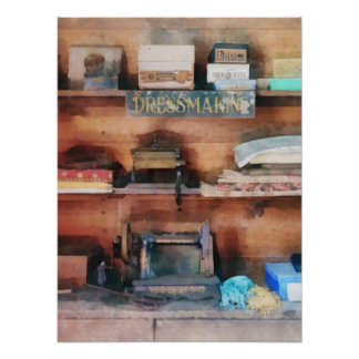 Dressmaking Supplies and Sewing Machine Poster