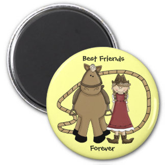 Dressy Cowgirl & Horse Friends - Western Humor 2 Inch Round Magnet