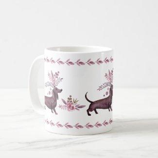 Dressy Purple Dachshunds Custom Mug