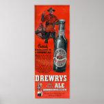 DREWRYS OLD STOCK ALE-VINTAGE CANADIAN BEER POSTER