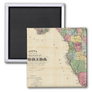Drew's New Map Of The State Of Florida 2 Inch Square Magnet
