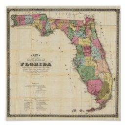 Drew's New Map Of The State Of Florida Poster