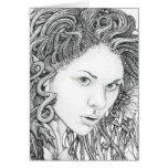 Dríada (cara) - tarjeta de felicitaciones en blanc