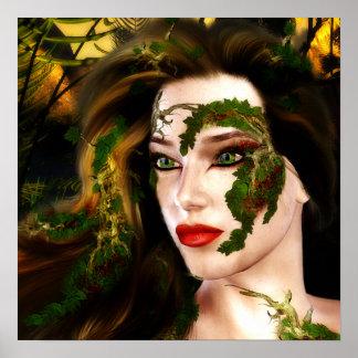 Dríada de la fantasía del bosque poster