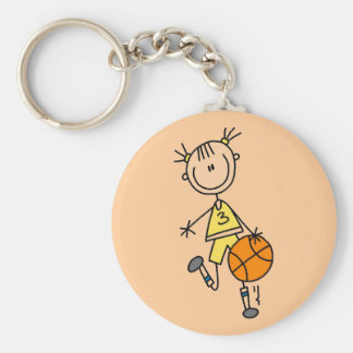 Dribbling Girl Basketball Tshirts and Gifts Keychain