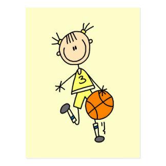 Dribbling Girl Basketball Tshirts and Gifts Postcard