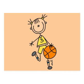 Dribbling Girl Basketball Tshirts and Gifts Post Cards