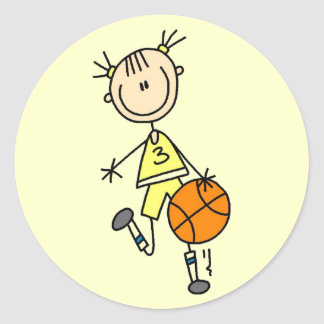 Dribbling Girl Basketball Tshirts and Gifts Round Stickers