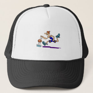 dribbling running man trucker hat