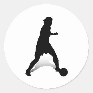 Dribbling Striker Classic Round Sticker