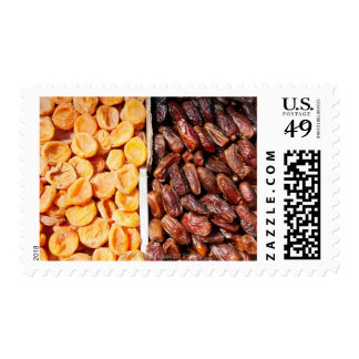 Dried apricots and dates at farmer's market postage