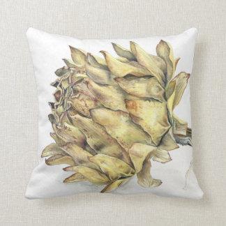 Dried artichoke heart watercolor gouache art throw pillow