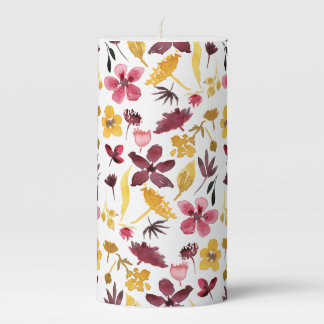Dried Autumn Flowers Pillar Candle