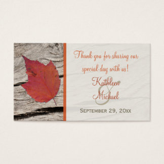 Dried Autumn Leaf Wedding Favor Tag