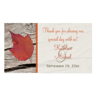 Dried Autumn Leaf Wedding Favor Tag Double-Sided Standard Business Cards (Pack Of 100)